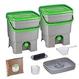 Skaza Bokashi Organko Set (2 x 16 L) con 2 recipientes de compostaje de plástico reciclado Juego de principiante para desechos de cocina y compostaje Con Bokashi Organko Acelerador de compostaje 1 kg
