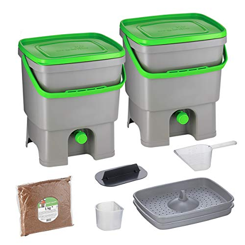 Skaza Bokashi Organko Set (2 x 16 L) Compostiera 2X per Giardino e Cucina in plastica Riciclata | Starter Set con Miscela di fermentazione Bokashi Organko 1 kg (Grigio-Verde)