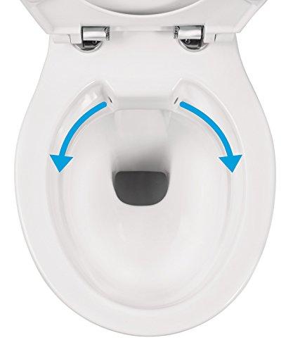 Wand-WC-Set Jonas | Spülrandlos | Inklusive WC-Sitz | Tiefspüler | Weiß | Spülrandlose Toilette | Spülrandloses Hänge-WC | Hängetoilette | Hygiene Plus | einfache Reinigung - 5