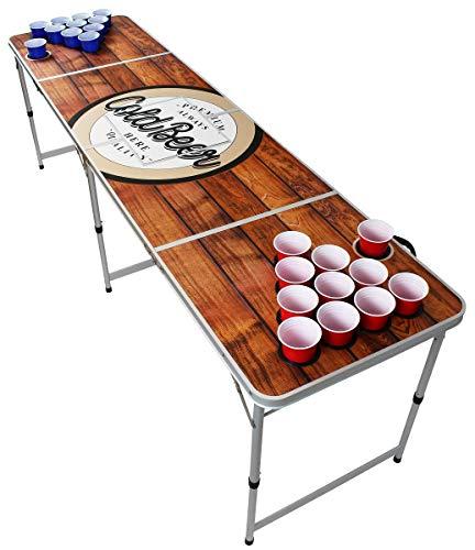 Original Premium Beer Pong Tisch - Wood - inkl. Eisfach, 6 Beer Pong Bälle & Becherhalterung (inkl. 50 Red & 50 Blue Cups)