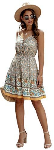 Longwu Mini Vestido de Playa sin Espalda con Cuello en V y Estampado de Flores con Estampado de Flores de Boho para Mujer Albaricoque-XL