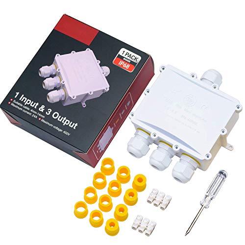 Abzweigdose IP68 Verteilerdose Wasserdichte Kabelverbinder Klemmdose für Aussen 4 Wege für Ø4mm-14mm Kabeldurchmesser Weiß