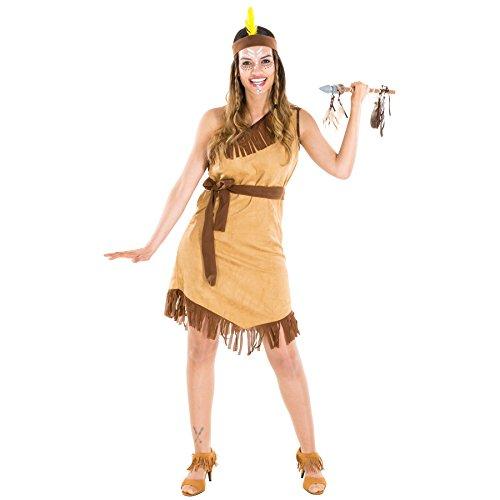 TecTake dressforfun Frauenkostüm Indianerin | Sexy Kleid + Haarband mit Federn und Bindegürtel | Squaw Indianer Faschingskostüm (XL | Nr. 300597)
