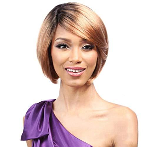 SEXYY Sexy 11 pouces dames courte perruque frange oblique court rouleau Full Wigs Cheveux Perruques pour femme noire,Afro résistant à la chaleur Perruque pleine crépée