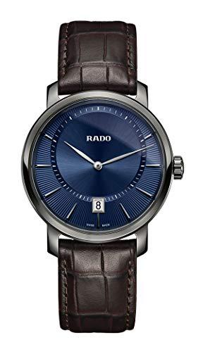 Rado DiaMaster R14135206 - Reloj de cuarzo para hombre con esfera azul y fecha, correa de cuero marrón