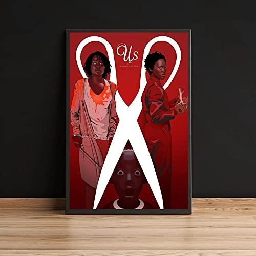 Kemeinuo Abstracto Lienzo de Estados Unidos Jordan Peele Horror Vacaciones Santa Cruz Arte decoración Obra de Arte gráfico Minimalista película Cartel de película impresión 60x90cm