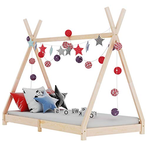 vidaXL Madera Maciza de Pino Estructura de Cama Infantil Mueble para Habitación Dormir Cuarto de Niños 80x160 cm