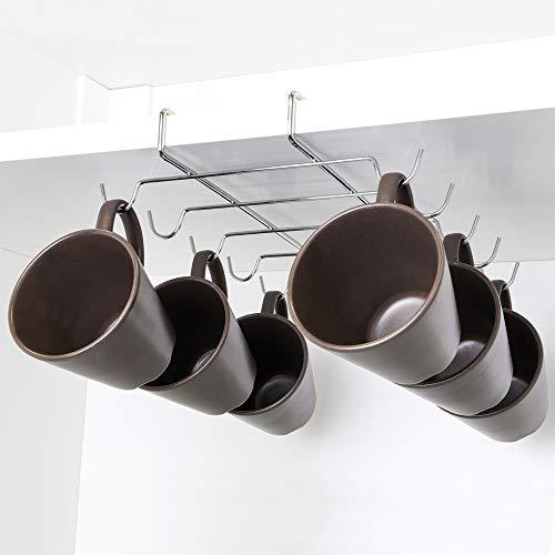 UPP Tassenhalter verchromt I Hakenleiste für Ihre Küchenschränke I Handtuchhaken, Küchenutensilien Halter und Küchen Organizer - Alles ohne Bohren I Küchenleiste mit 10 Haken