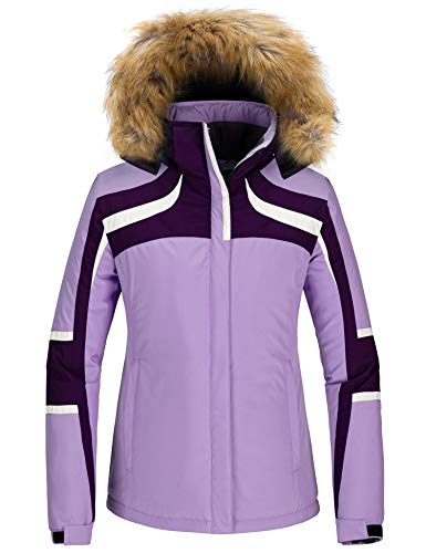 Skieer Chaqueta de Esquí Impermeable para Mujer Chaquetas de Snowboard Deportiva a Prueba de Viento Abrigo de Nieve Invierno Cálido Mujer Púrpura X-Large
