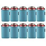 Bluecell 10pcs Standard 12oz Beer Can Sleeves Blank Neoprene Insulated Beer Can Coolers, Premium Quality Soft Drink Collapsible Insulators (Light Blue)