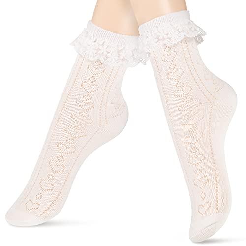 Calcetines de Tobilleros de Encaje con Volantes de Vestido Princesa, Blanco