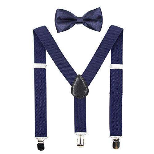 Hanerdun Kids Suspender Bowtie Sets Adjustable Suspender With Bow Ties Gift Idea For Boys And Girls, Navy Blue, One Size