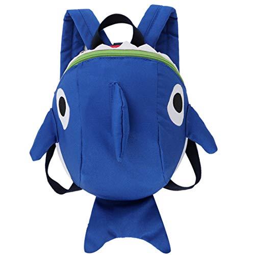 Hai Rucksack für Kinder ,WENTS Kindergarten Rucksack Hai mit Sicherheit Baby Anti-verlorenes Seil,Kinderrucksack mit Brustgurt Mini Cartoon Kinder Rucksack für Jungen 1-3 Jährige(Blau)
