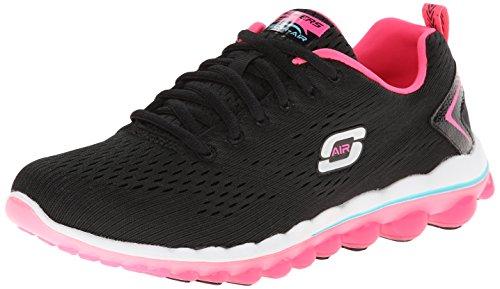 Skechers Sport Women's Skech Air Aim High Fashion Sneaker,Black Mesh/Hot Pink Trim,8.5 M US