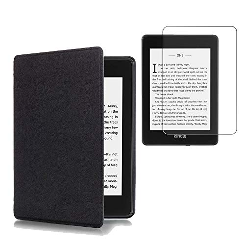 Gzerma Case for Kindle Paperwite 10th Generation 2018 with Screen Protector, Slim Folio PU Leather Book Cover Case with Anti Glare Matte Protective Film for All New Amazon Kindle Paperwite E-Reader Black