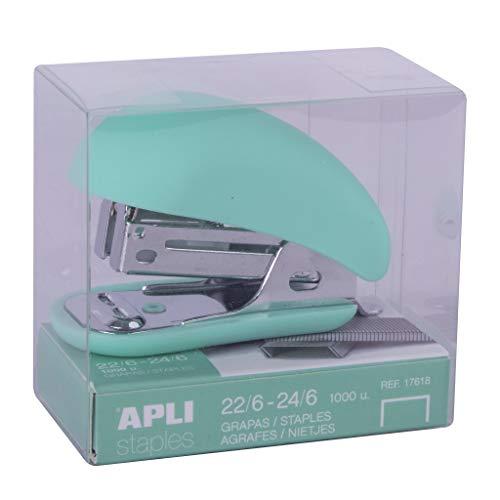 APLI 18761 - Grapadora mini Nordik Collection color VERDE. Incluye 1000 grapas...