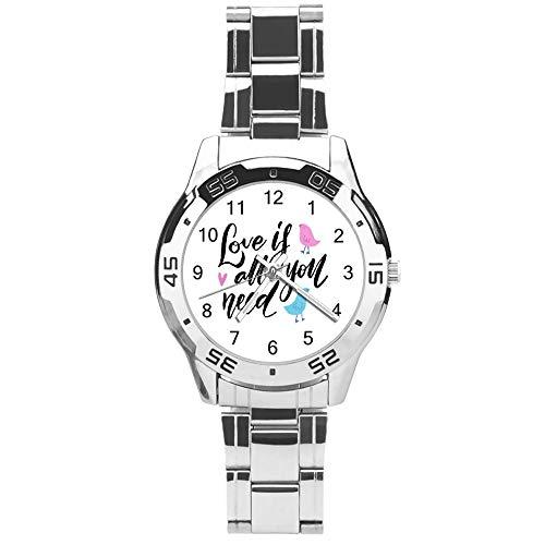 Klassiek driehands kwarts horloge met roestvrijstalen band, wijzerplaat liefde is alles wat je nodig hebt, verstelbare automatische riem, zilver, voor uniseks, beste cadeau (41mm) l36n34n1u0j6
