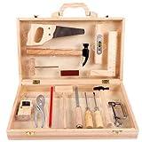 LOVOICE Caja de herramientas para niños, caja de herramientas, caja de herramientas, herramientas de reparación, juguetes de madera, con 16 piezas, multifuncional, profesional, desmontable, para niños
