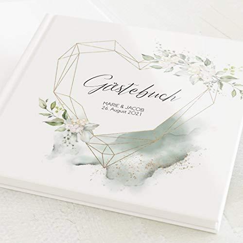 sendmoments Foto Gästebuch Hochzeit Herz der Liebe, personalisiert mit Wunschtext, hochwertiges Hardcover-Buch, Quadratisch, mit 32 leeren Seiten oder mehr