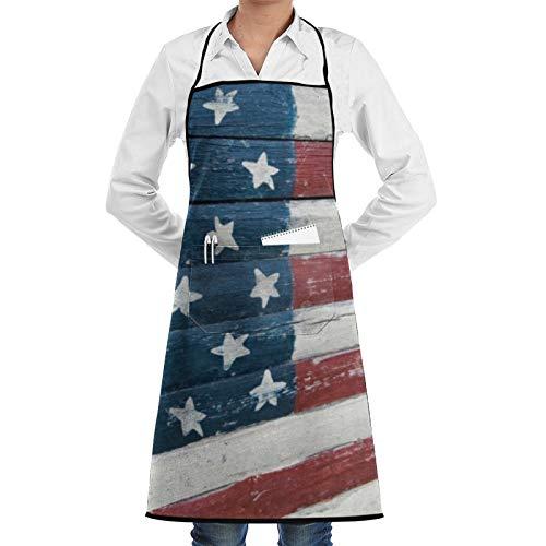 Delantal rústico con diseño de bandera americana pintada en madera para mujeres y hombres, delantal de cocina divertido delantal de barbacoa ajustable con bolsillos