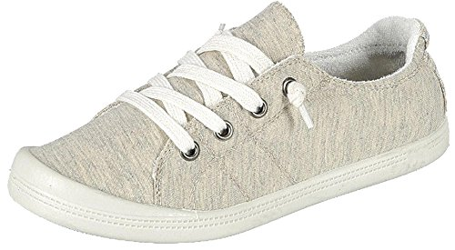 Forever Link Womens COMFORT-09-DKGRY Fabric Closed Toe Loafers Beige