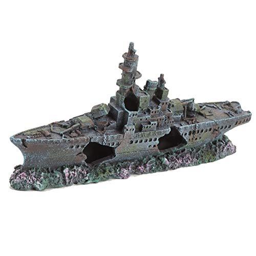 Pet Ting Adorno de Buque de Guerra naufragio para pecera, Barco, galeón, Pirata, 24 cm