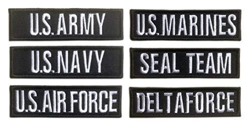 Antrix Taktischer Militär-Patch, US-Armee, US-Marine, US-amerikanische Luftwaffe, US-Marines, US-Siegel-Team, Delta-Kräfte, Uniform, Embleme, personalisierbar, 10.2 x 3.8 cm, 6 Stück