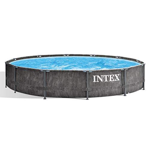 12 Foot x 30 Inch Round Greywood Prism Steel Frame Premium Above Ground Pool Set with Filter Cartridge Pump & Pool Liner, Gray Woodgrain - Intex 26749ST