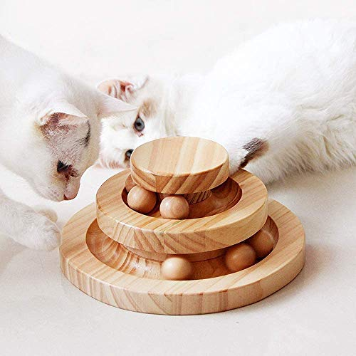 AriTan Interactive Wooden Cat Toy Double Layer Rotating Smart Track Ball Turntable Swing Roller Gifts Turntable for Cats Kitty