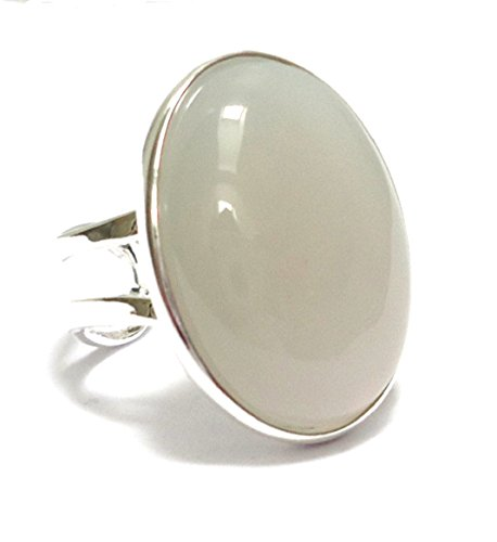 Large Silver Plated Adjustable Ring with Grey Agate Gemstone Setting