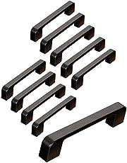 10 zwarte deurgrepen van zinklegering, T-handgrepen, bar, keuken, kast, gatafstand 96 mm