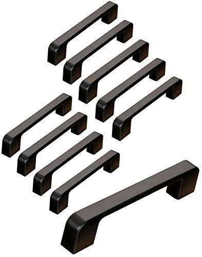 10 schwarze Türgriffe aus Zinklegierung, T-Griffe, Bar, Küche, Schrank, Lochabstand 96 mm