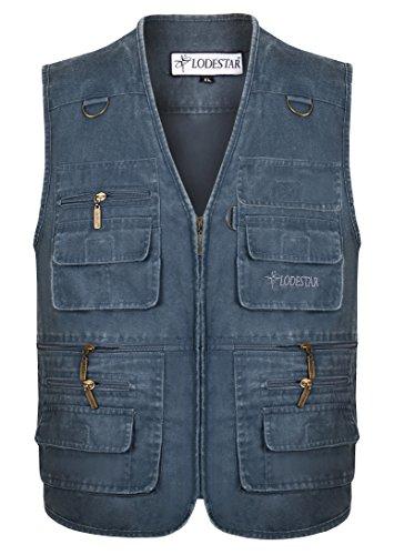 YYZYY Homme Coton léger D'extérieur Multifonctionnel Multi-Poches Manteaux sans Manche Gilet Lightweight Veste Chasse Pêche (FR Small, Bleu foncé)