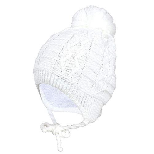 TupTam Baby Winter Mütze Strickmütze zum Binden, Farbe: Weiß, Größe: 45-47