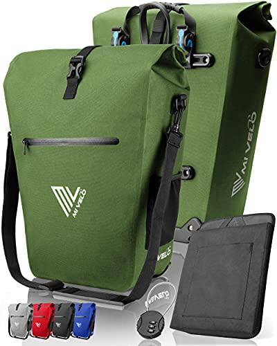 MIVELO Fahrradtasche Gepäckträgertasche wasserdicht 100% PVC frei + Laptopfach + Schloss + Schultergurt – Fahrrad Tasche für Gepäckträger 1 STK (Olivgrün, 25L)