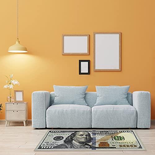 "Forart New 100 Dollar Bill Printed Rugs New Benjamin Non-Slip Area Rug Runner Rugs for Home Decor Carpet 70""x29"""