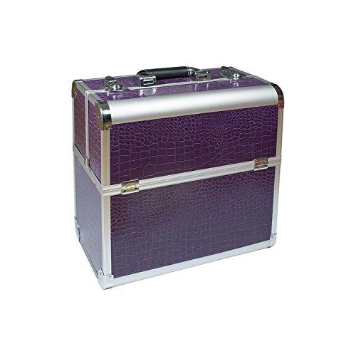 N&BF Profi Kosmetikkoffer groß | 35 x 22 x 36 cm | Violet (Lila) | robuster Nagelkoffer aus...