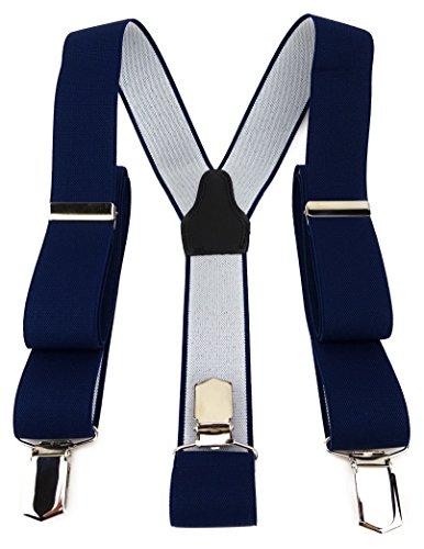 TigerTie Unisex Hosenträger in Y-Form mit 3 extra starken Clips - Farbe in marine dunkelblau einfarbig Uni - hochwertige Verarbeitung - Breite 35 mm