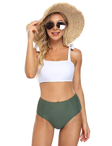 HiMiss Women's High Waisted Two Piece Swimsuit Tie Shoulder Bathing Suits Printed Swimwear Bikini Set White Green L
