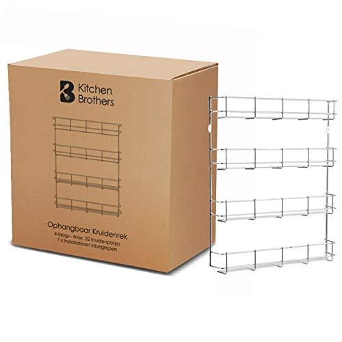 Ophangbaar Kruidenrek - 4 Laags Kruidenrekje voor 32 Kruidenpotjes - 40 x 6.3 x 50 cm - RVS