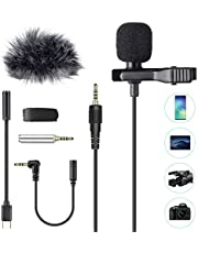 Professional Lavalier Microphone,AGPTEK Clip-on Lapel Omnidirectional Condenser Mic for YouTube Recording Interview,Video Conference,Podcast,Phone