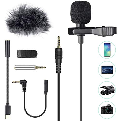 AGPTEK Microphone PC 3.5mm Jack Audio avec Clip et Fourrure Pare-brise, 2m Mini Micro Cravate Interview Condensateur Omnidirectionnel avec 2 Adaptateur et Adapter USB type-C pour Skype,iPhone,Android