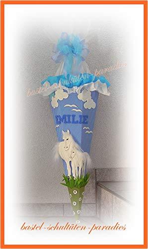 Schultüten Bastelset Pferde weiß mit Wolken/hellblau-weiß