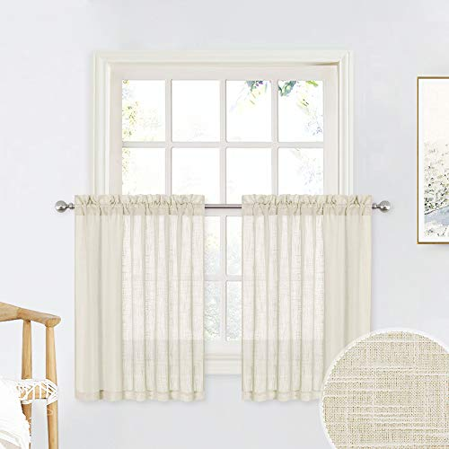 RYB HOME Window Toppers Valances - Linen Sheer Tiers for Bathroom Windows, Texture Wave Semi-Sheer Light Filtering Privacy Curtains for Kids Nursery/Kitchen, Warm Beige, 52 x 36 inch, 1 Pair