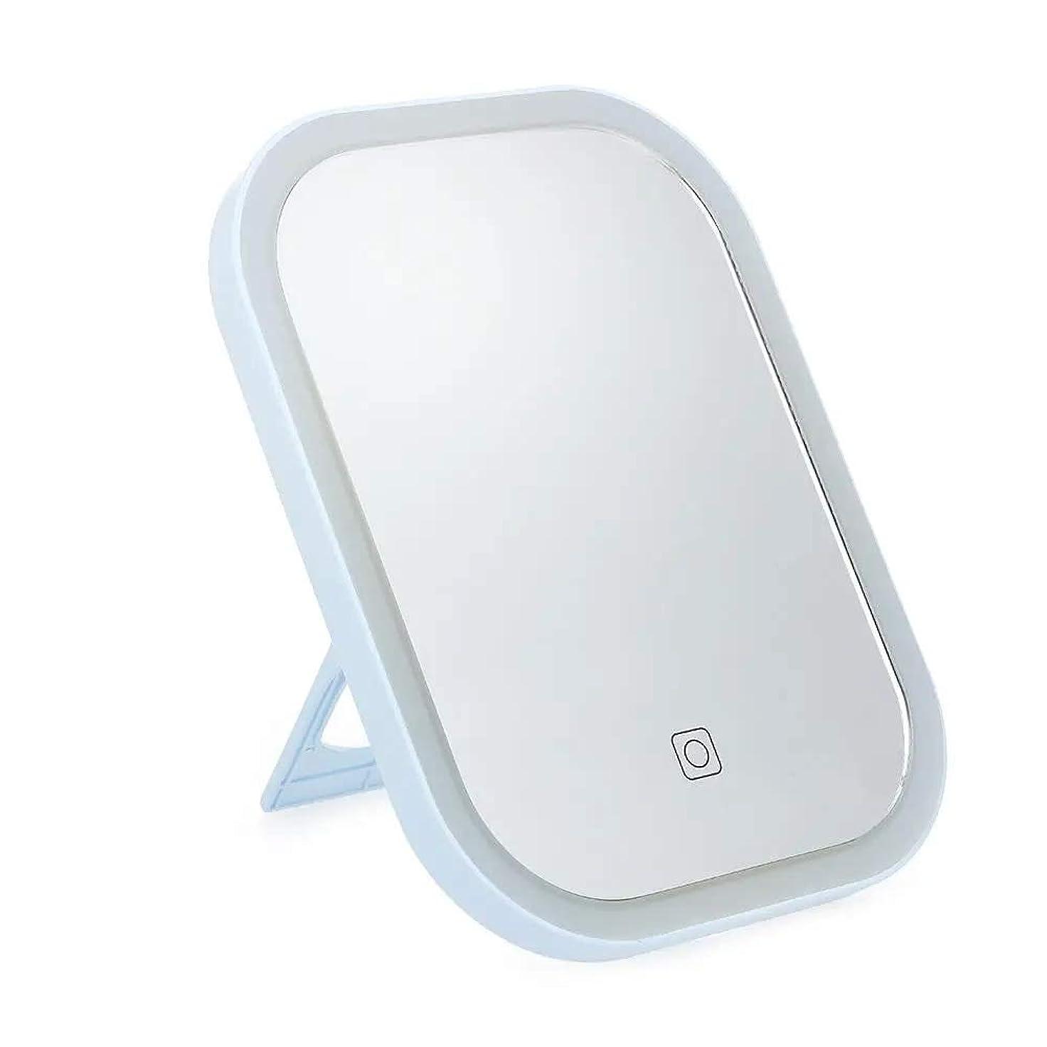 元の画面時々時々化粧鏡 ポータブルバニティミラー調光LEDスマートLEDタッチスクリーンのメイクアップミラー卓上 充電式多機能LED化粧ミラー (Color : White, Size : One size)