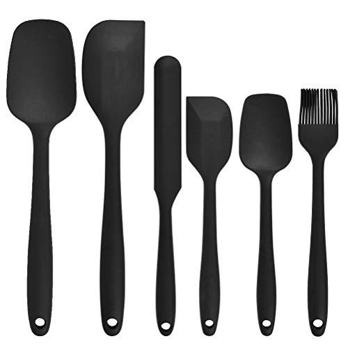 FOCCTS 6 Stück Küchen-Silikon-Spatel-Set, hitzebeständiges ungiftiges Antihaft-Silikon-Spatel, Löffel, Pinsel, zum Kochen, Backen und Mischen (Schwarz)