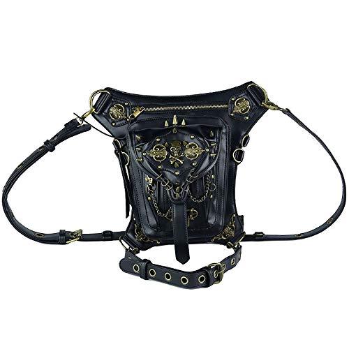 AlwaySky PU-Leder Steampunk Gürteltaschen Gothic Personalisierte Tasche Männer und Frauen Wandern Gürteltasche Mini Reisetaschen schwarz