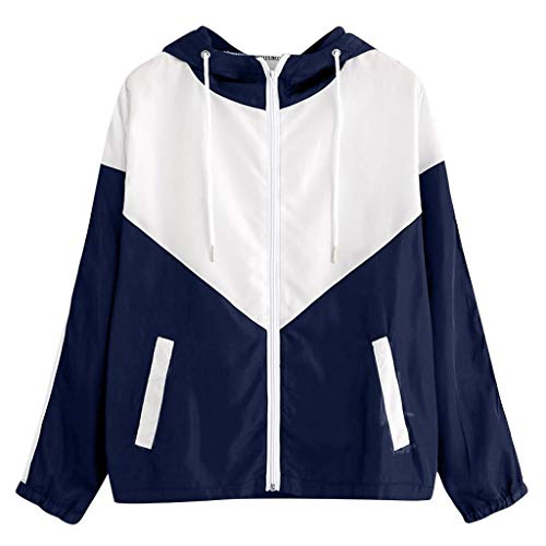 Women's Hooded Jacket Color Block Full Zip Bomber Jacket Running Yoga Sweatshirts with Pocket by perfectCOCO