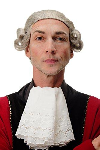 WIG ME UP- F2588-51 Peluca calidad hombre Barroco Renacimiento Mozart noble rey rizado rizos corto gris