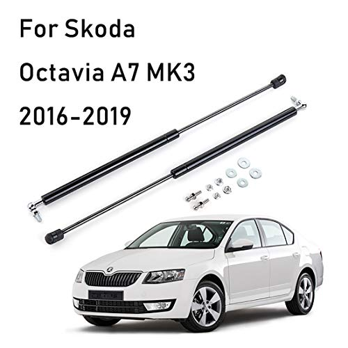 OYEFLY Kfz-Strebenstangen für Octavia Limousine 2016-2019 Motorhauben Gasfeder Schwarz 2 Stücke Stoßdämpfer, stabile Unterstützung für Motorhaube